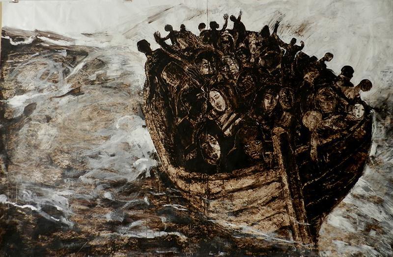 Fresques goudron sur tyvek - 190 cm x 290 cm - 2014